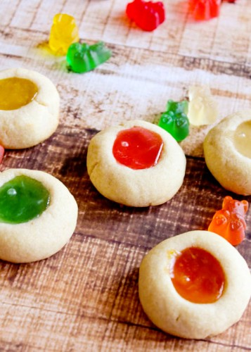 Holiday Gummy Bear Thumbprint Cookies