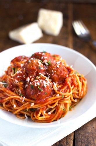 Lighter Spaghetti and Meatballs