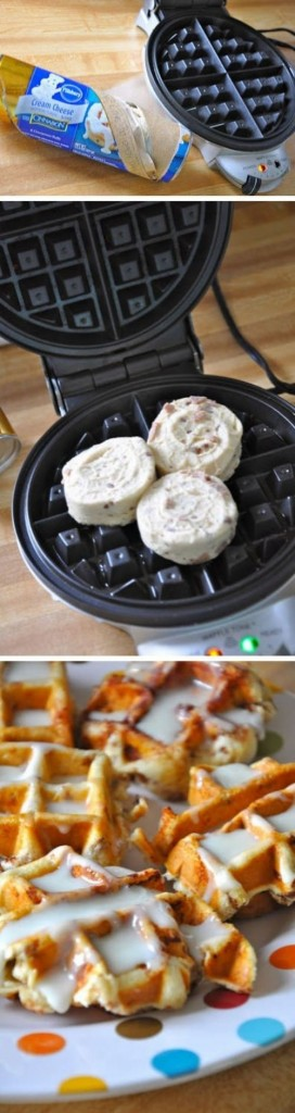 Cinnamon Roll Waffles with Cream Cheese