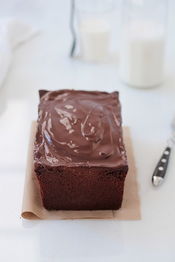 chocolate pound cake with ganache