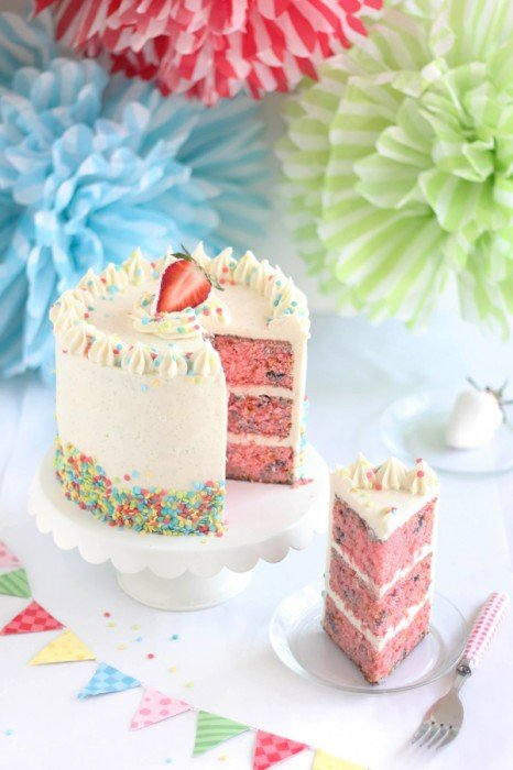 Layered Strawberry Confetti Cake
