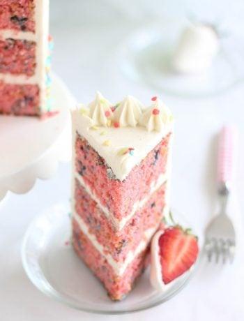Layered Strawberry Confetti Cake