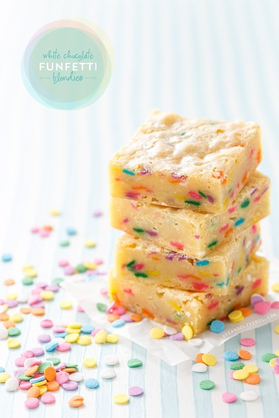 White Chocolate Funfetti Blondie Bars