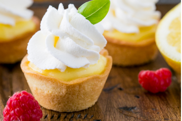 Lemon Curd Tartlets with Whipped Cream