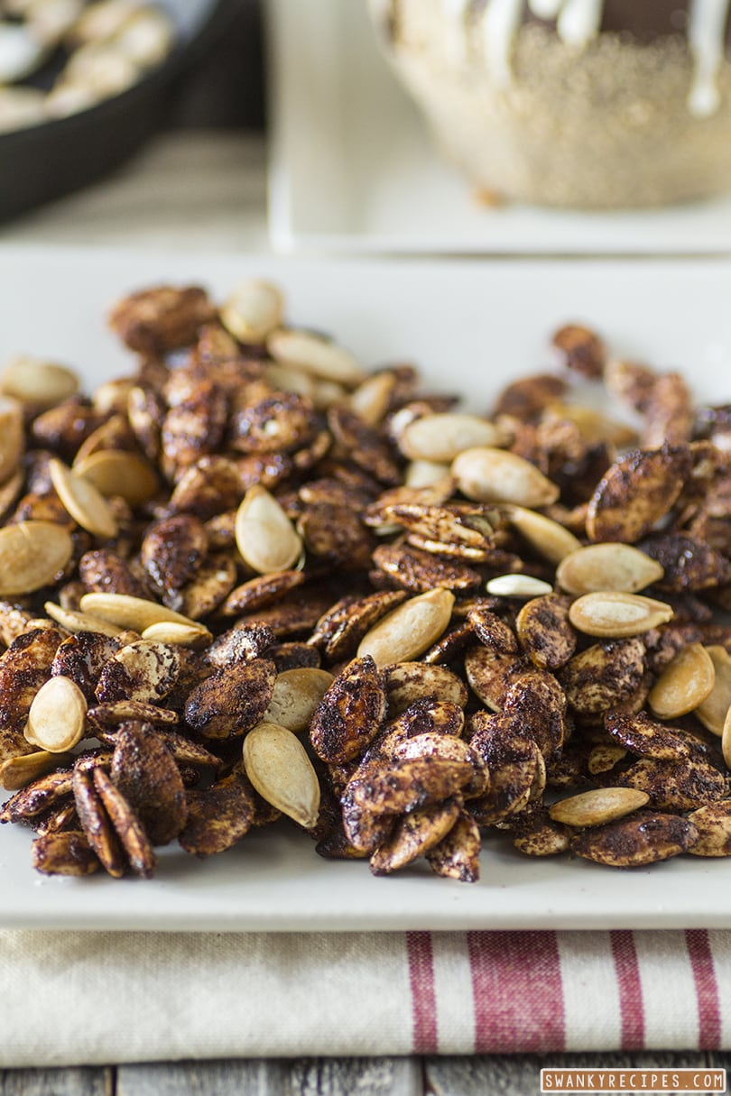 Maple Honey Cinnamon Roasted Pumpkin Seeds - Swanky Recipes
