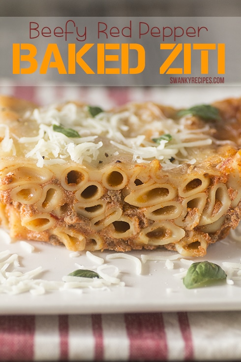 Beefy Red Pepper Baked Ziti Recipe with Sauteed Onion & Beef Ragú® Sauce #NewTraDish