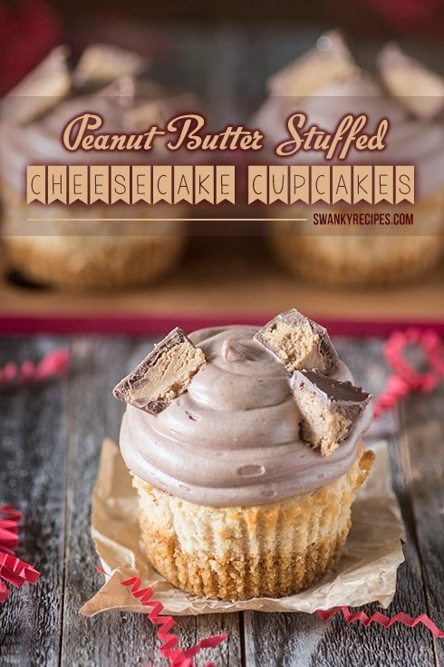 Peanut butter Stuffed Cheesecake Cupcakes - The ultimate Peanut Butter Cheesecake Cupcake recipe that is sinfully delicious, rich and packed with creamy peanut butter cheesecake and a surprise peanut butter cup stuffed in the center.  If you're a peanut butter lover, you will love this recipe.  #PBandG
