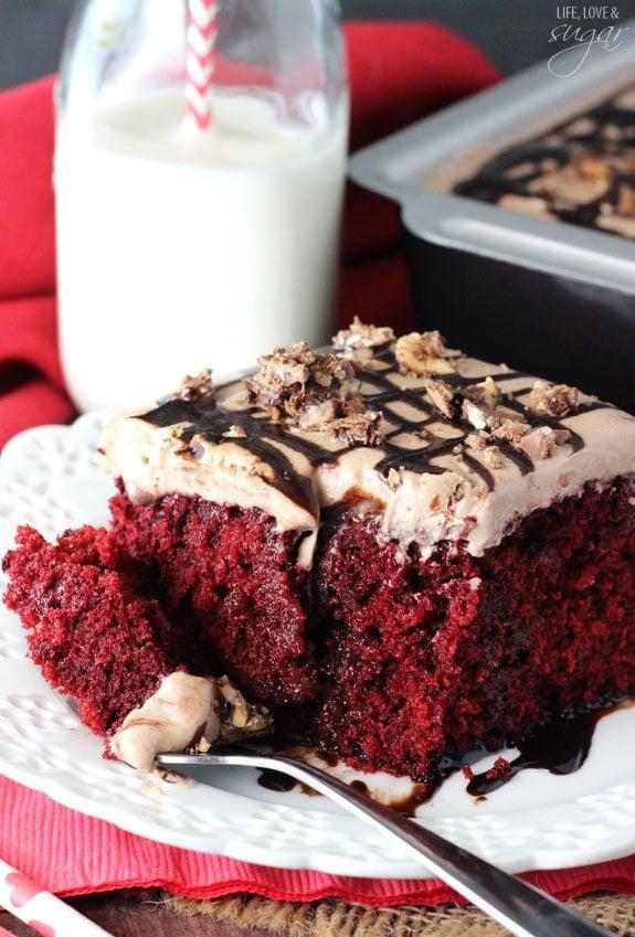Nutella Red Velvet Poke Cake