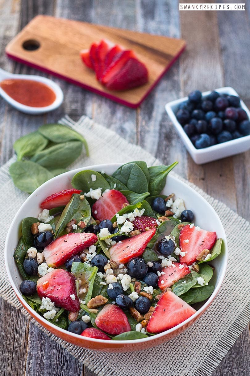 Blueberry Strawberry Spinach Salad with Poppy Seed Dressing