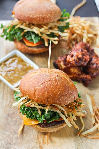 Beef Sliders with Shoestring Fries and Honey BBQ Chicken Wings