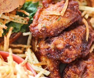 Shoestring Beef Sliders with Chicken Wings