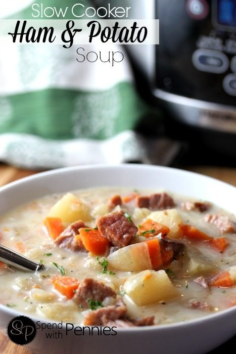 Slow Cooker Ham and Potato Soup – Spend with Pennies