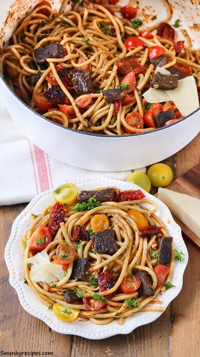 One Pot Sun-Dried Tomato and Steak Pasta