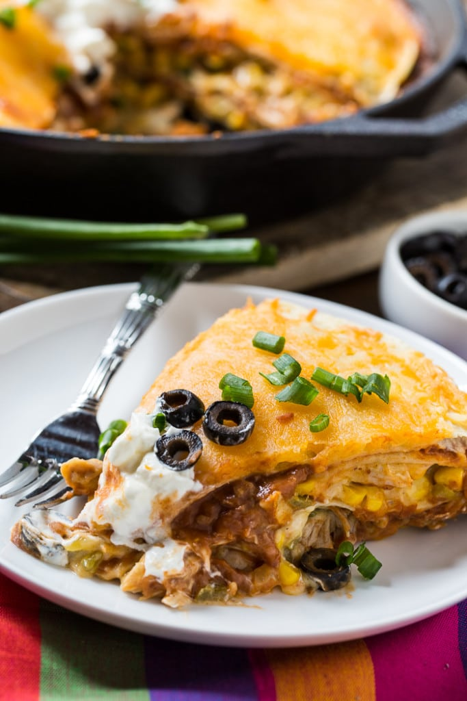 Chicken Tortilla Pie - Who says Mexican food can't be delicious. This Chicken Tortilla Pie gets 5 stars for flavor and ease of cooking.