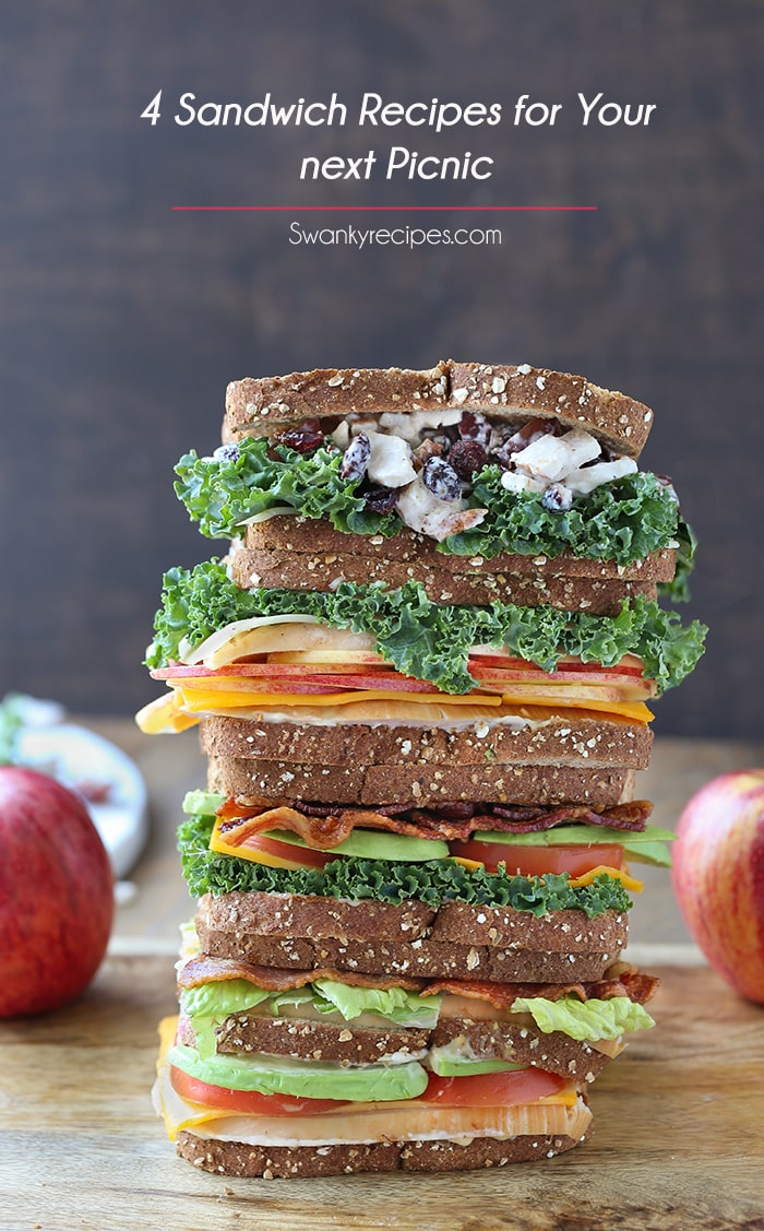 4 Sandwich Recipes for Your next Picnic - Four different varieties of sandwiches made for a picnic, cocktail party or outdoor barbecue bash. Each recipe starts with the same bread and uses simple, everyday ingredients such as fresh veggies, deli meat and Sargento® Sliced Cheese. Be sure to serve a Turkey Club, Cheddar BLT, Turkey Cheddar Apple or Chicken Salad Sandwich for any summer sandwich occasion.