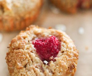 Whole Wheat Raspberry Apple Bran Muffins