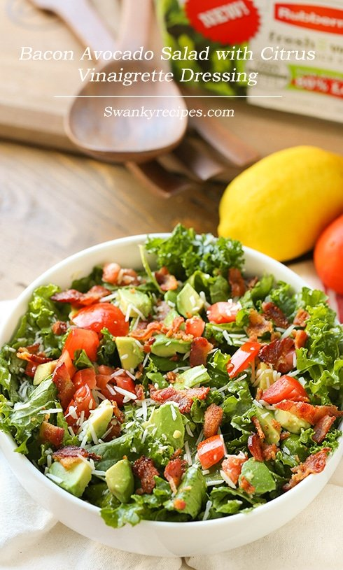 Bacon Avocado Salad with Citrus Vinaigrette Dressing - Swanky Recipes