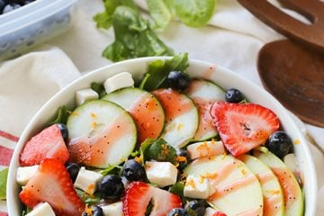 Strawberry Cucumber Mozzarella Salad
