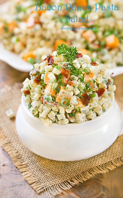 Bacon Ranch Pasta Salad - Creamy sour cream, ranch, and mayonnaise dressing tossed with Ditalini shaped pasta, crispy chopped bacon, French's® Dijon Mustard, diced block cheese and red pepper flakes. Serve for barbecues, holidays, potlucks and as a side dish alongside any main star meal.
