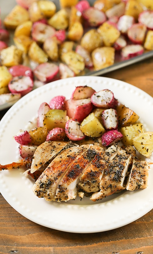 Basil Citrus Chicken - One pan basil chicken and vegetables.  Basil and citrus marinated chicken roasted on a sheet pan with potatoes and radishes.  Have dinner on the table in 25 minutes with this easy to make dinner recipe.