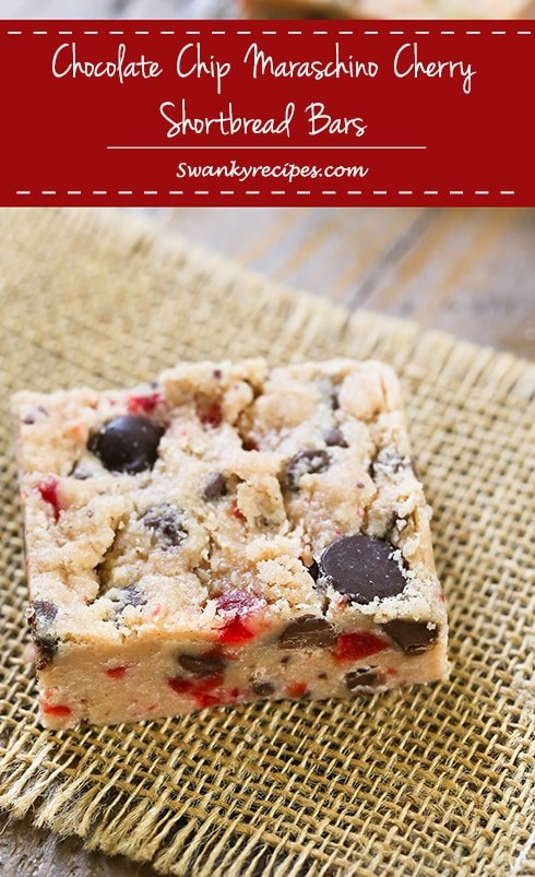 Chocolate Chip Maraschino Cherry Shortbread Bars - The ultimate shortbread cookie bars stuffed with dark chocolate chips and maraschino cherries.  You'll want this cherry chocolate chip bar recipe handy throughout the year!