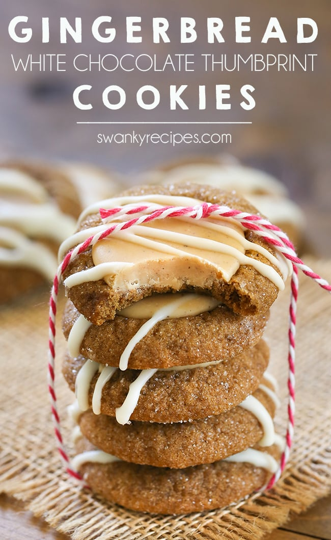 Gingerbread Thumbprint Cookies - Big batch of chewy holiday cookies. Make ahead and serve for your next family party. #dessert #gingerbread