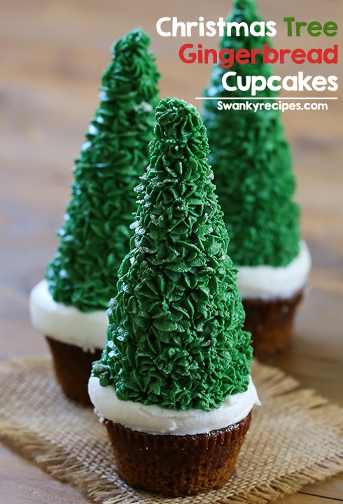 Christmas Tree Cupcakes - Easy Christmas Tree Cupcakes with gingerbread cake, snowy frosting and an ice cream cup decorated with frosting. These Christmas cupcakes are perfect for the holiday season and are a lot of fun to make.