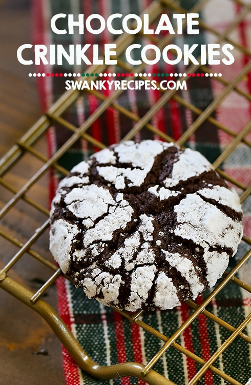 Chocolate Crinkle Cookies - Fudgy brownie-like chewy chocolate cookies with a soft center that crumbles in your mouth.  These cookies feature a secret flavor that you'll love for the holiday season.