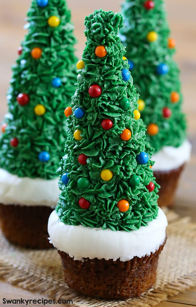 Christmas Tree Cupcakes - Swanky Recipes - Gingerbread cake with frosted tree and white snow. #christmas