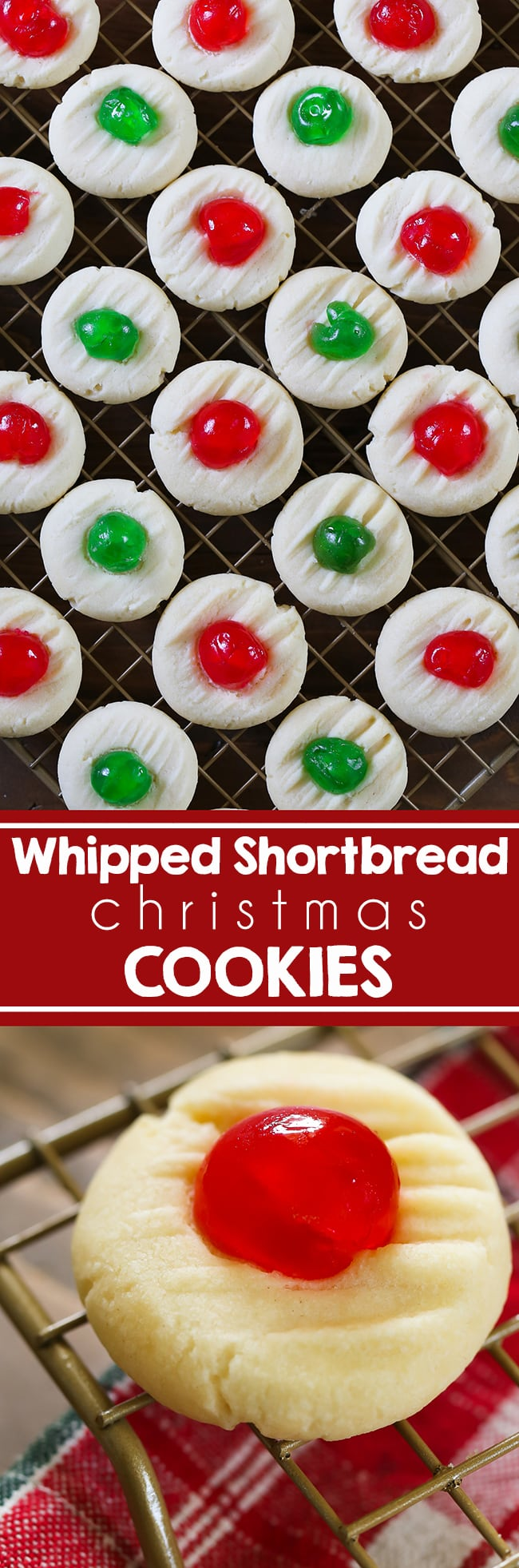 Melt in your mouth Whipped Shortbread Cookies made with just a few ingredients.  Christmas is just a week away and these cookies are always popular for holiday parties and cookie exchanges.