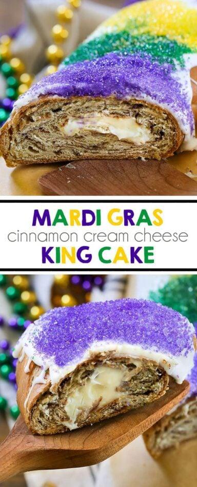 Mardi Gras King Cake - You'll love this homemade New Orleans carnival dessert. Tastes just like a cinnamon roll! #kingcake #dessert #mardigras