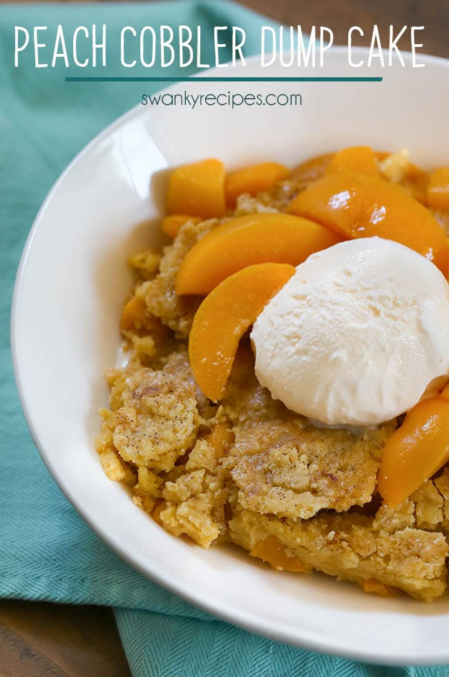 Peach Cobbler Dump Cake - Hands down, the easiest cake this summer with just 3 ingredients! We love this cake mix cobbler for summer cookouts, graduation parties, 4th of July and summer holiday parties. #cobbler #dumpcake #cake #potluck