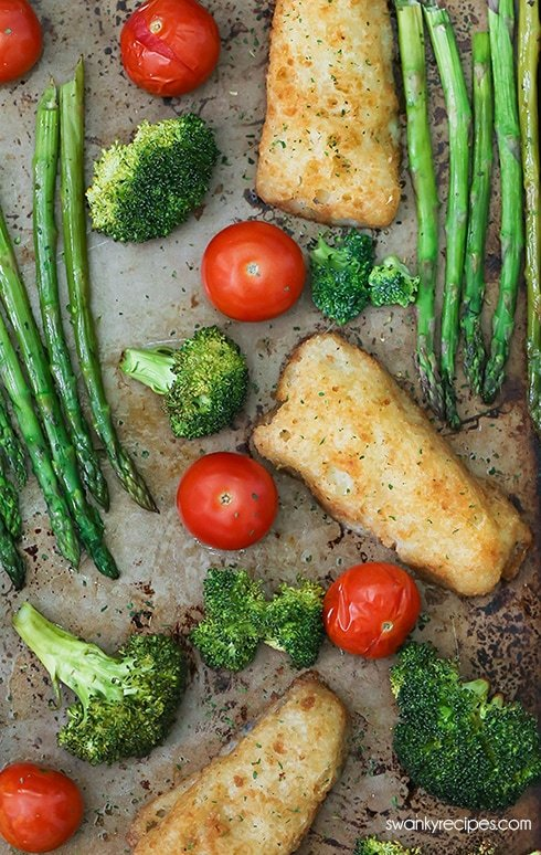Sheet Pan Fish and Vegetables - One pan crispy beer battered fish fillets with glazed honey garlic roasted vegetables.  An easy 30-minute sheet pan meal the whole family will love. #sheetpan #onepot #fish