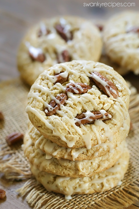 Butter Pecan Cookies - The best rich butter, toasted pecan, and maple chewy cookies. These Butter Pecan Cookies are perfect for Christmas or holiday baking! Recipes include a cake mix version, too!