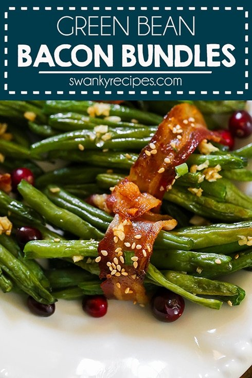 Bacon Green Bean Bundles - An easy 5-ingredient healthy side dish or appetizer for Thanksgiving. A delicious twist on the traditional green bean casserole. Our family has come to love these Bacon Green Bean Bundles with a sweet honey garlic glaze. It couldn't be any easier to make for the holiday season!