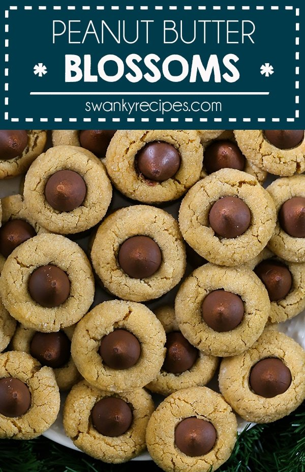 Peanut Butter Blossoms - A classic Christmas cookie recipe. These cookies deserve a spot on the Christmas cookie tray this holiday season. A chewy peanut butter cookie with milk chocolate kisses.