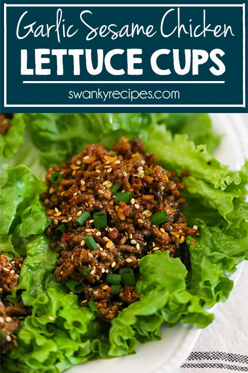 Garlic Sesame Chicken Lettuce Cups with the BEST Asian sauce. These healthier lettuce wraps are easy to prepare with ground chicken.
