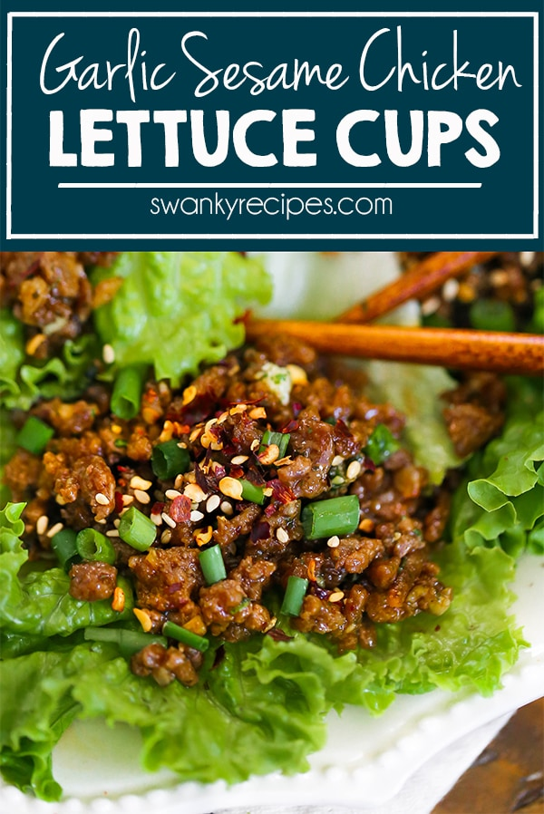 This homemade version of Asian Chicken Lettuce Cups is inspired by PF Chang's Lettuce Wraps and it's now made with a tastier Garlic Sesame Asian sauce for better flavor. They are so easy to make and can be ready in 25 minutes!