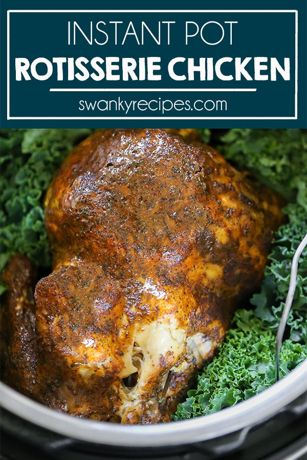 Instant Pot Rotisserie Chicken - An easy guide to pressure cooking a whole chicken in the Instant Pot. You'll LOVE this juicy, tender, and flavorful rotisserie chicken recipe. Plus how to get crispy skin and chicken gravy in 5 minutes!