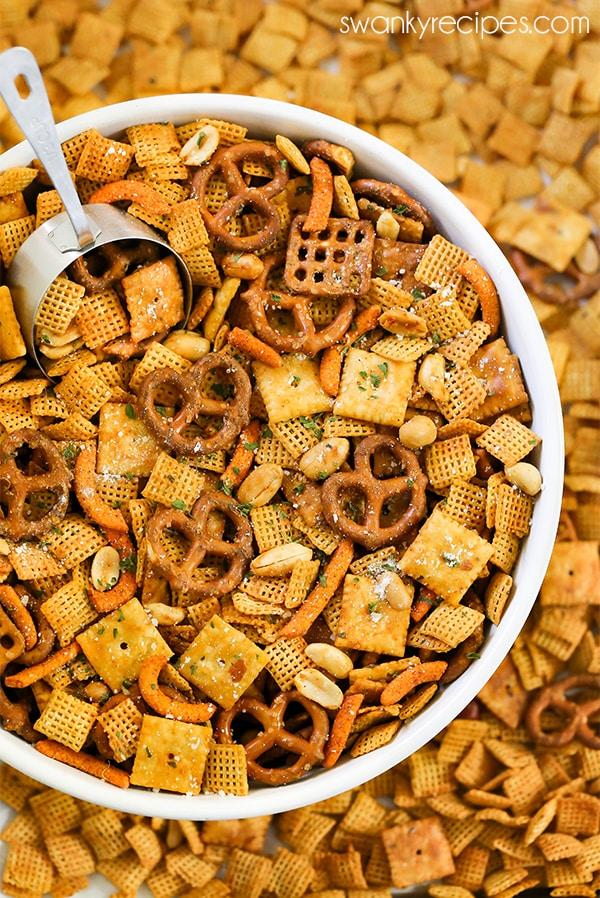 Buffalo Ranch Chex Mix - Easy snack mix made with ranch and buffalo sauce.