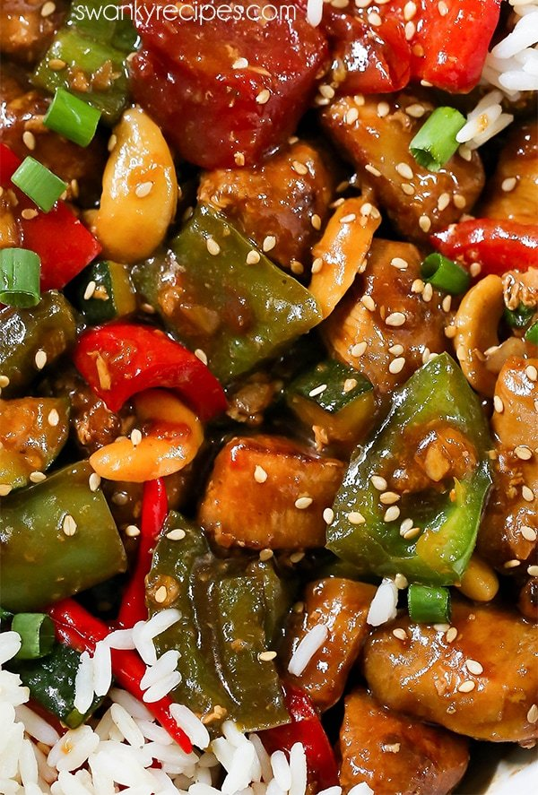 Kung Pao Chicken - The BEST Chinese chicken recipe with a spicy sweet Chinese sauce. Kung Pao Chicken is made with stir-fry vegetables, rice, and chilis.