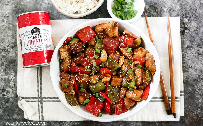 Kung Pao Chicken with stir-fry vegetables. A spicy Chinese chicken recipe with homemade Kung Pao sauce and rice.