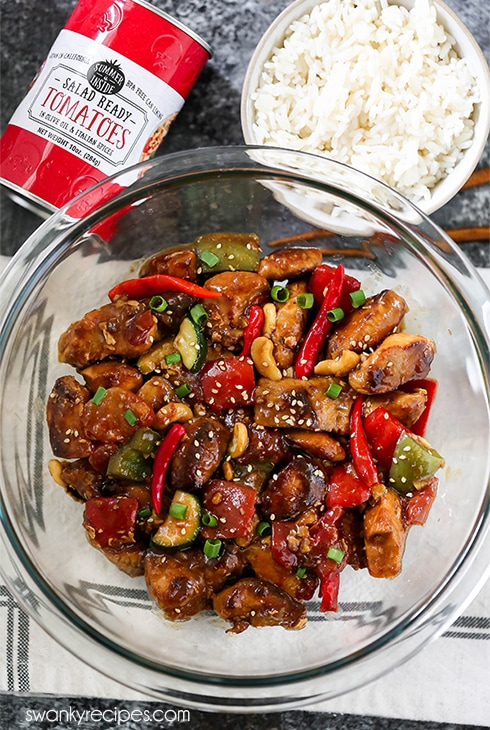 Kung Pao Chicken - Spicy Chinese Kung Pao Sauce coated chicken with fresh vegetables.