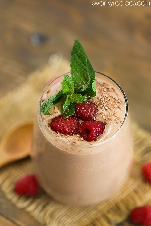 Chocolate Mousse with shaved chocolate, mint, and raspberries.