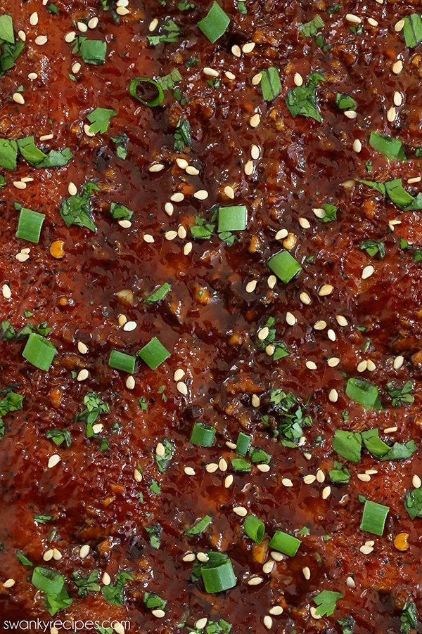 Garlic Sesame Rib Sauce close up on ribs before being cut.