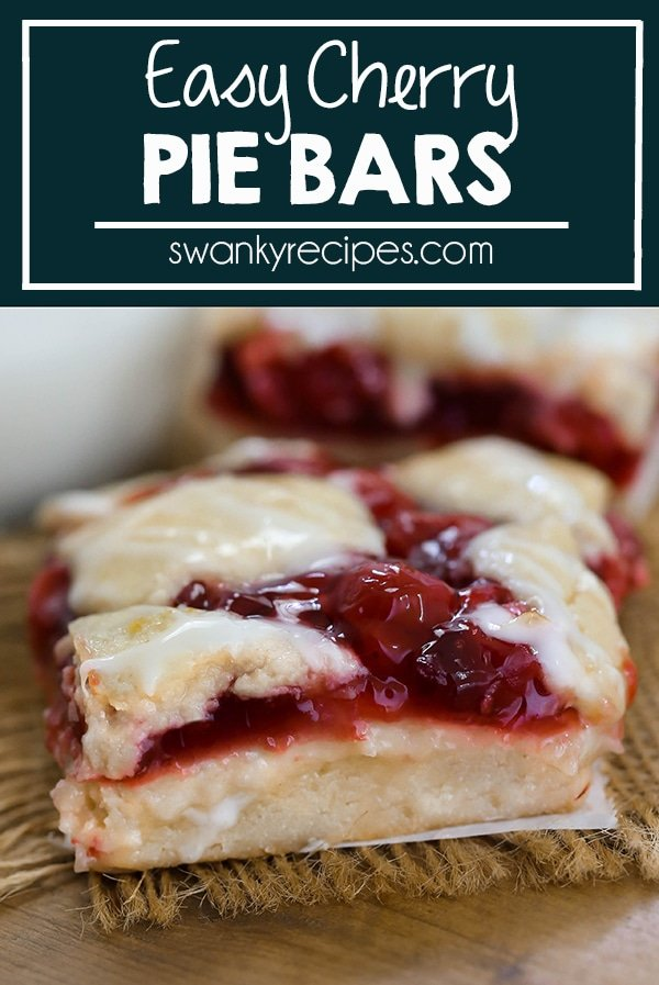 Sweet and tangy cherry pie filling on top of sugar cookie bar crust.