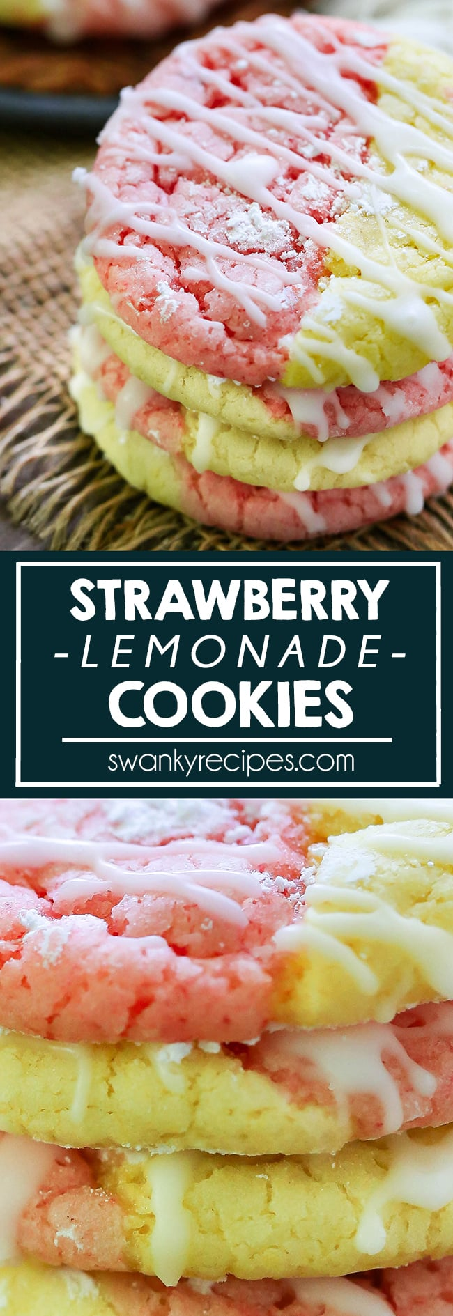 The BEST Strawberry Lemonade Cookies. Made with strawberry cookie dough and lemon cookie dough. A summer dessert cookie full of flavor.