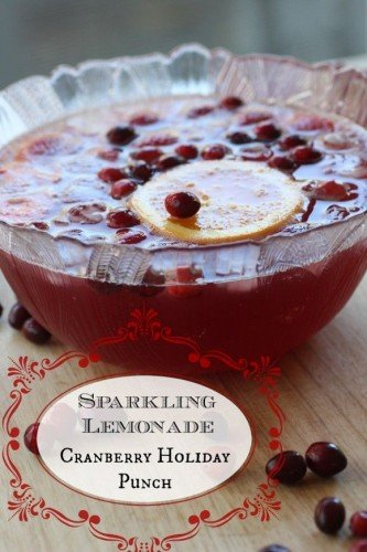 Sparkling Lemonade Cranberry Holiday Punch