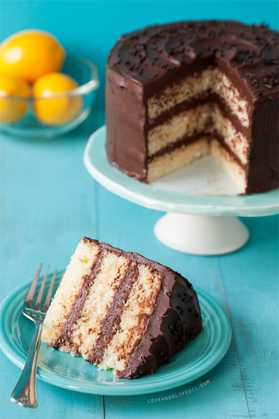Lemon Layer Cake with Chocolate Frosting