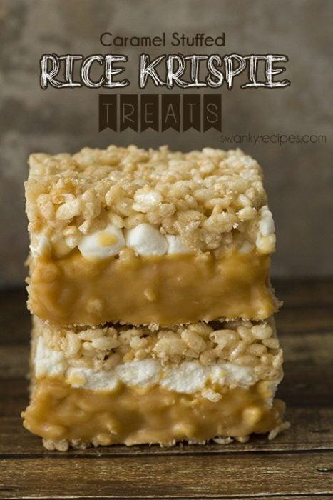 Soft and gooey, double-decker caramel stuffed rice krispie bars